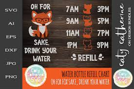 Oh For Fox Sake Drink Your Water Svg Bottle Water Chart