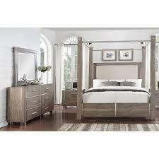 Clearance Gray U0026 Silver Contemporary 7 Piece King Canopy Bedroom Set    Buena Vista
