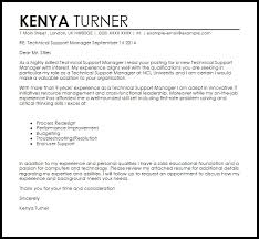 Technical Support Manager Cover Letter Sample Livecareer With