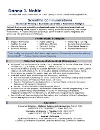 Resume Writing For Science Jobs Sample Of Resume Writing Student