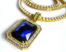 lab sapphire ruby gold plated hiphop bling pendant and faux diamond chain