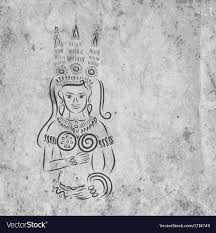 Apsara Design Apsara On Grunge Wall For Your Design