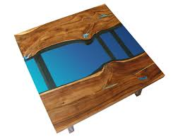 square live edge river coffee table glowing in the dark