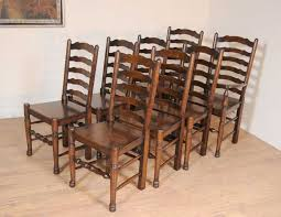 set 8 oak ladderback chairs kitchen dining chair farmhouse furniture