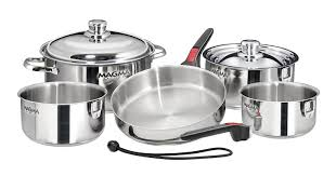 stackable cookware sets. Delighful Cookware Amazoncom  Magma Products A10360LIND 10 Piece Gourmet Nesting  Stainless Steel Cookware Set Induction Cooktops Pans Sports U0026 Outdoors And Stackable Sets