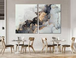 black and gold marble wall decor