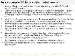 Assistant Project Manager Letter Project Manager Duties