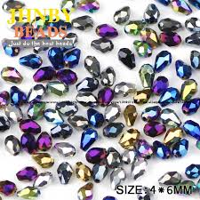 JHNBY <b>Waterdrop Faceted Austrian</b> crystal beads 4*6mm 100pcs ...