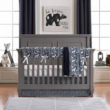 navy woodland crib bedding