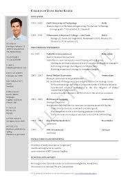 sample form of a resume