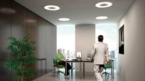 led office ceiling lighting fixture with round shape over private office room design full ceiling lights for office