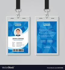 Id Card Templates Free Blue Polygon Office Id Card Template