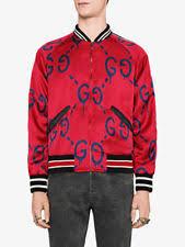 gucci varsity jacket. $2480 nwt men\u0027s gucci jacket ghost red silk viscose size 50 large varsity