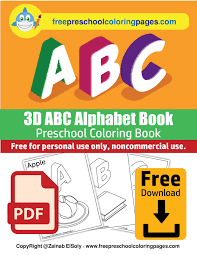 Various alphabets to color with one thing in common : Free 3d Abc Coloring Pages