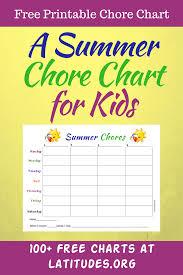Free Summer Chores Chart Chore Chart Kids Printable Chore