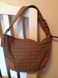 Image is loading Coach-Signature-Tan-Canvas-Leather-Shoulder-Hobo-Bag