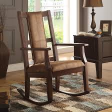 ACME Butsea <b>Rocking Chair</b>, <b>Brown</b> Fabric & Espresso - Walmart ...