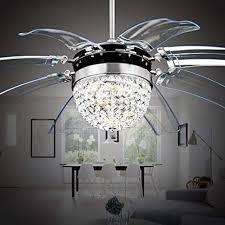 42'' Silver <b>Crystal</b> Ceiling Fan <b>Remote Control</b> Modern Fly Invisible 8 ...