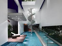 modern home architecture interior. Simple Interior Stylish Modern Home With Interior Swimming Pool And Glass Spiral Staircase For Architecture L