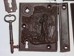 antique restoration hardware early rim lock 13c
