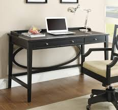 image of black computer desk with drawers