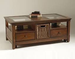 glass top coffee table with storage