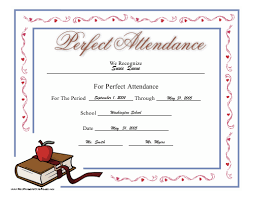 Free Printable Perfect Attendance Certificate Template Magnificent Printable Perfect Attendance Certificate Template Attendance