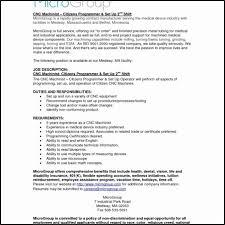 Machinist Resume Template Cnc M Jmcaravans
