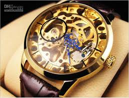 gold color hollow mechanical watches men s style leather strap 1pcs gold color hollow mechanical watches men s style leather strap round dial blue needle dropshipp