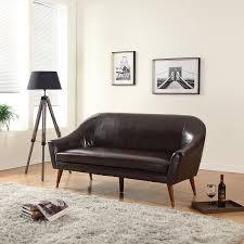 it curvy leather mid century modern sofa