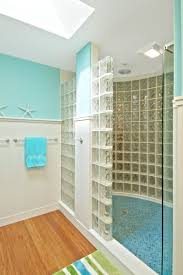 custom made glass block shower with straight and curved walls