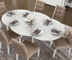 camel group dama bianca white high gloss round extending dining table with 6 chairs