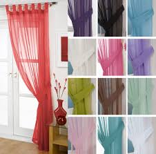 voile tab top curtain panel free tieback white cream all colours net voile