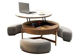 round coffee table with drawer amc
