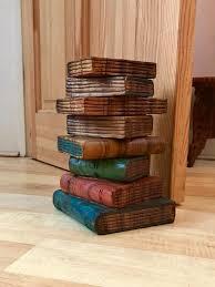 doorstop wooden carved books vintage