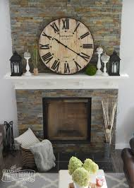 rustic vintage fall mantel with a clock fireplace decorationsmantle ideasfire place mantel