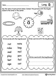 Students will be asked to color the spaces with words that have a long a sound blue and in this worksheet, students write the long vowel in the word that matches the picture. Long A Sound Worksheet Vowel Worksheets Phonics Worksheets Long Vowel Worksheets