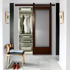 modern interior barn doors. Modern Full Lite Rain Glass Stained Pine Interior Barn Door With Sliding Hardware Kit Doors
