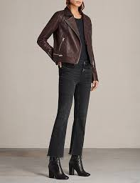 perfect styles allsaints conroy leather biker jacket oxblood red for women on