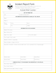 Employee Incident Report Form Template Injury Format Free