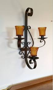 wrought iron black metal wall sconce