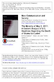 PDF) The Morality of May 2, 2011: A Content Analysis of U.S. ...