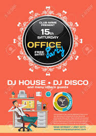 office party flyer vector office party invitation lounge dreaming office worker