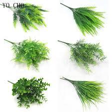YO CHO Artificial Plants <b>7 fork</b> Green Imitation Plastic Artificial Grass ...