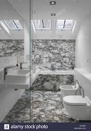 Eines Der Badezimmer Modernes Bad Mit Glatten Funktionen Und Marmor
