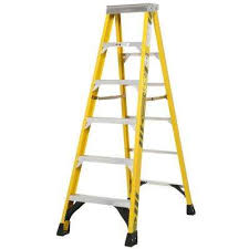 6 ft fiberglass step ladder with 375 lb load capacity type iaa duty rating