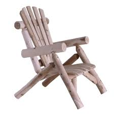 this outdoor adirondack style cedar log lounge chair made in usa adds an atmosphere of