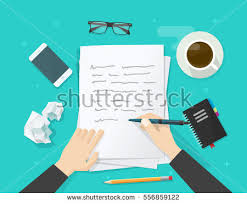 writer stock images royalty images vectors shutterstock writer writing on paper sheet vector illustration flat cartoon person hands pen on working