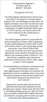 Job Qualification List Transportation Engineer Ii Md State Highway Administration