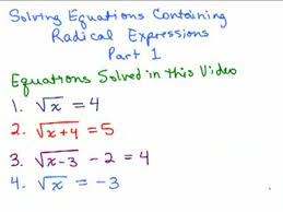 solving radical equations 1 help in high school math advanced algebra free math help s by mathvids com
